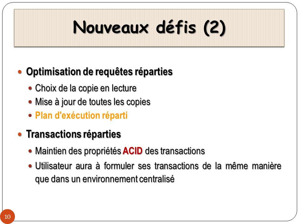 Nouveaux défis (2) 10 Optimisation de requêtes réparties Optimisation de requêtes réparties Choix de la copie en lecture Choix de la copie en lecture