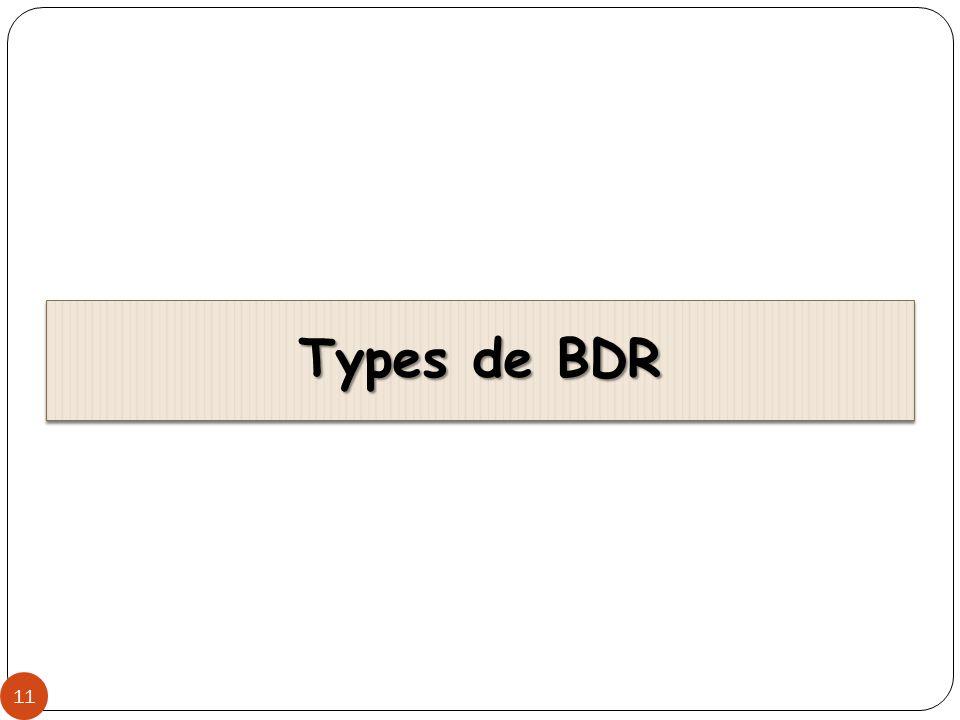 BDR Homogène 12 Obtenue en divisant une BD en un ensemble de BD locales, chacune étant gérée par le même SGBD Obtenue en divisant une BD en un ensemble de BD locales, chacune étant gérée par le même SGBD Même modèle de données Même modèle de données Même langage de requêtes Même langage de requêtes Exemple: DB2, ORACLE (SQL) Exemple: DB2, ORACLE (SQL) Données de la base sont réparties sur plusieurs sites Données de la base sont réparties sur plusieurs sites