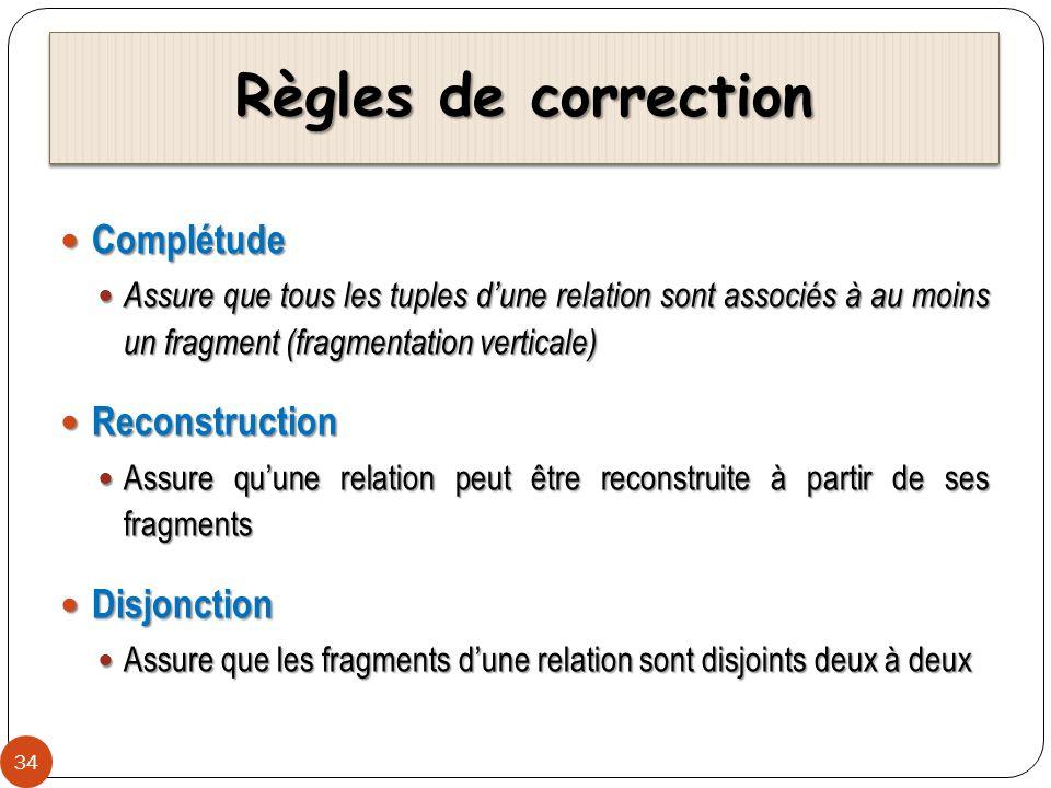 Règles de correction 34 Complétude Complétude Assure que tous les tuples dune relation sont associés à au moins un fragment (fragmentation verticale)