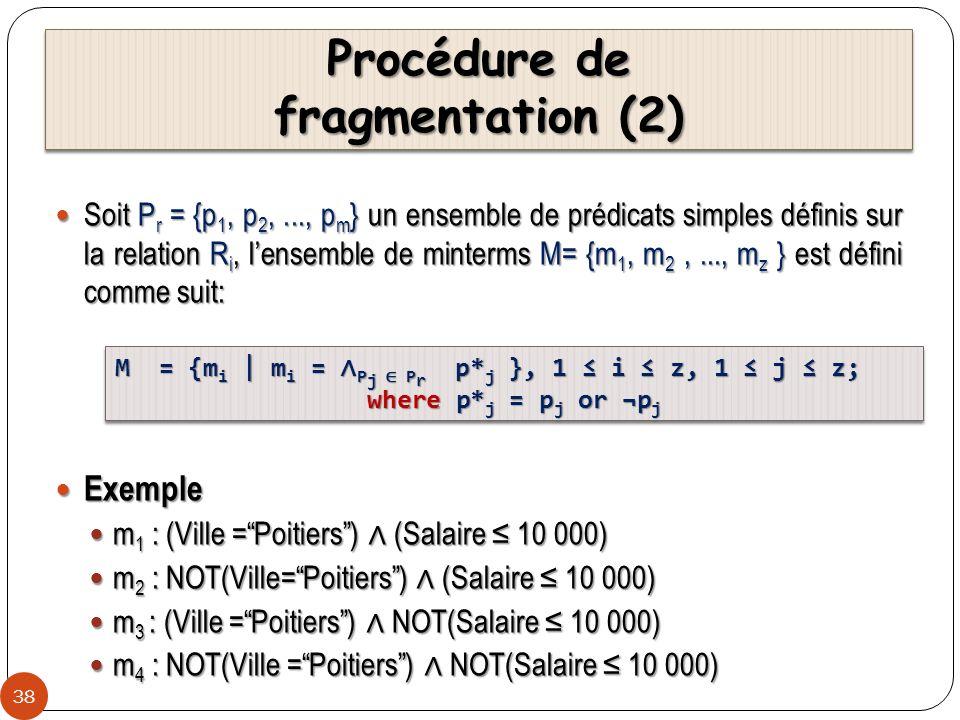 Procédure de fragmentation (2) 38 Soit P r = {p 1, p 2,..., p m } un ensemble de prédicats simples définis sur la relation R i, lensemble de minterms