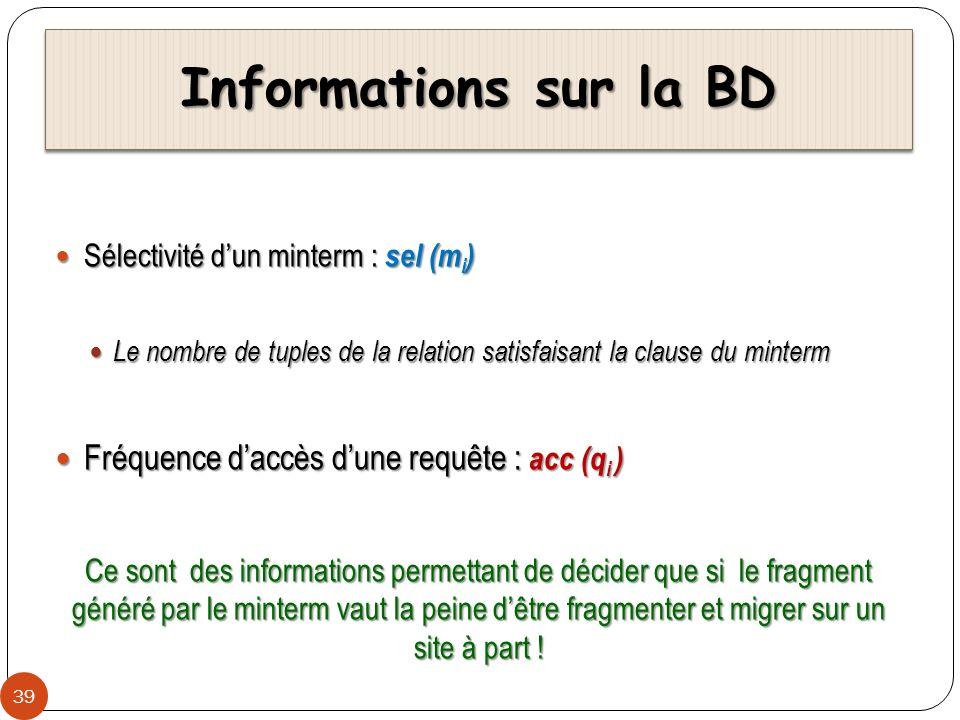 Informations sur la BD 39 Sélectivité dun minterm : sel (m i ) Sélectivité dun minterm : sel (m i ) Le nombre de tuples de la relation satisfaisant la