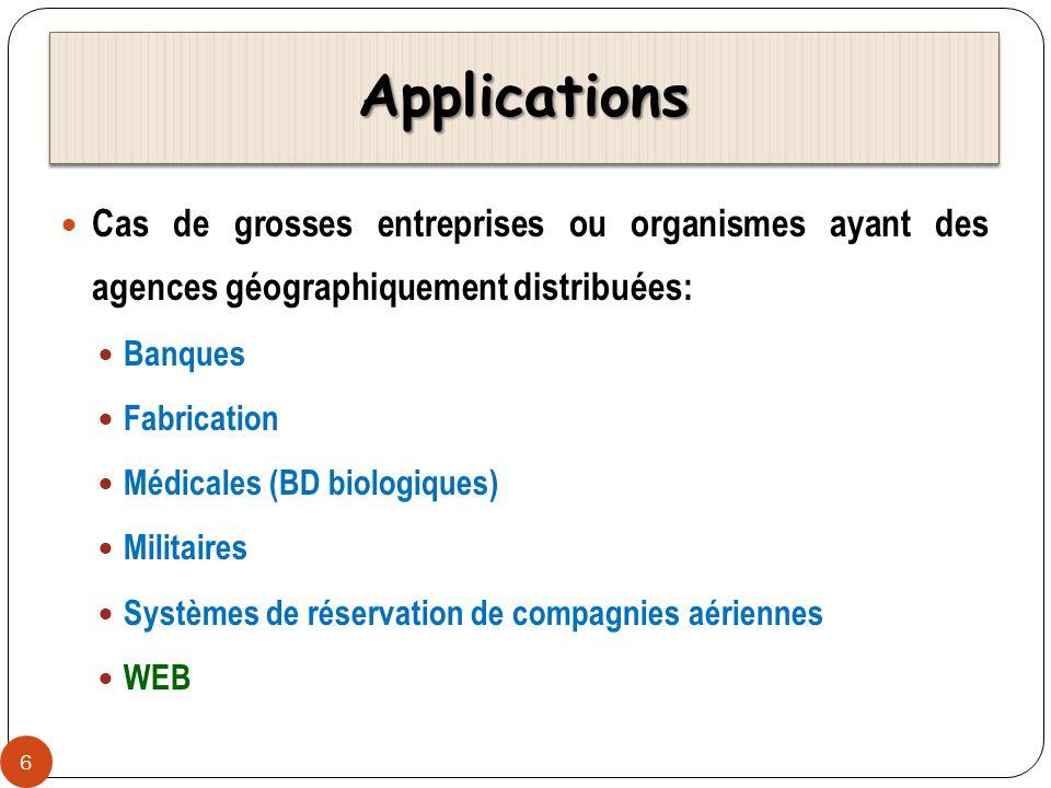 ApplicationsApplications Cas de grosses entreprises ou organismes ayant des agences géographiquement distribuées: Banques Fabrication Médicales (BD bi
