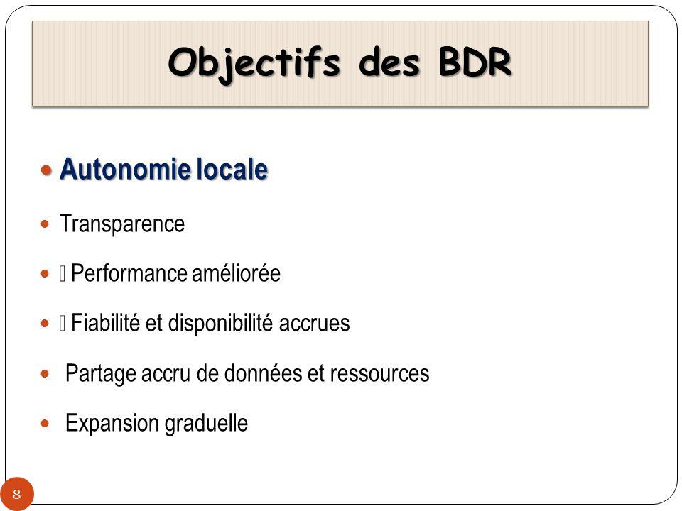 Objectifs des BDR 8 Autonomie locale Autonomie locale Transparence ž Performance améliorée Ÿ Fiabilité et disponibilité accrues Partage accru de donné