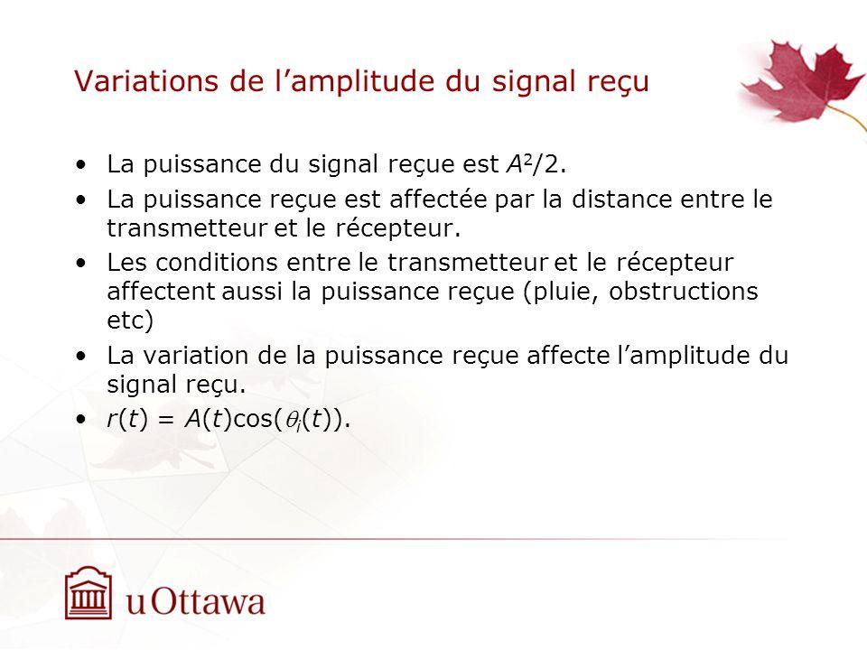 Variations de lamplitude du signal reçu La puissance du signal reçue est A 2 /2. La puissance reçue est affectée par la distance entre le transmetteur
