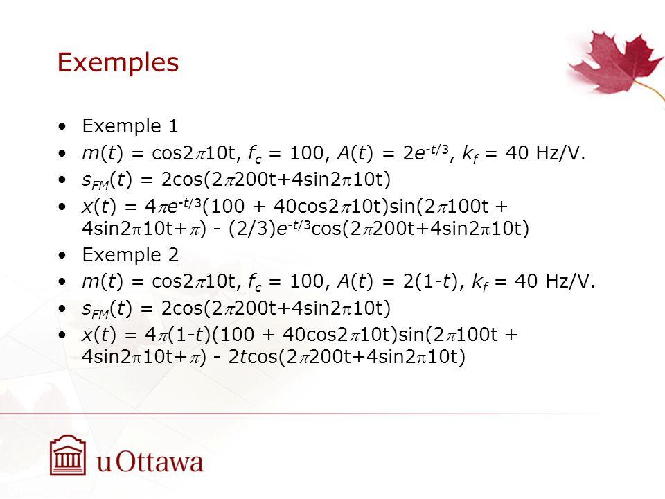 Exemples Exemple 1 m(t) = cos210t, f c = 100, A(t) = 2e -t/3, k f = 40 Hz/V. s FM (t) = 2cos(2200t+4sin210t) x(t) = 4e -t/3 (100 + 40cos210t)sin(2100t