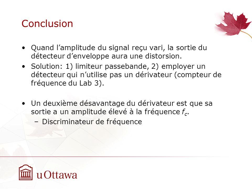Conclusion Quand lamplitude du signal reçu vari, la sortie du détecteur denveloppe aura une distorsion. Solution: 1) limiteur passebande, 2) employer
