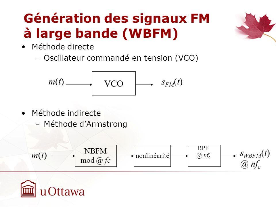 Génération des signaux FM à large bande (WBFM) Méthode directe –Oscillateur commandé en tension (VCO) Méthode indirecte –Méthode dArmstrong m(t)m(t) V