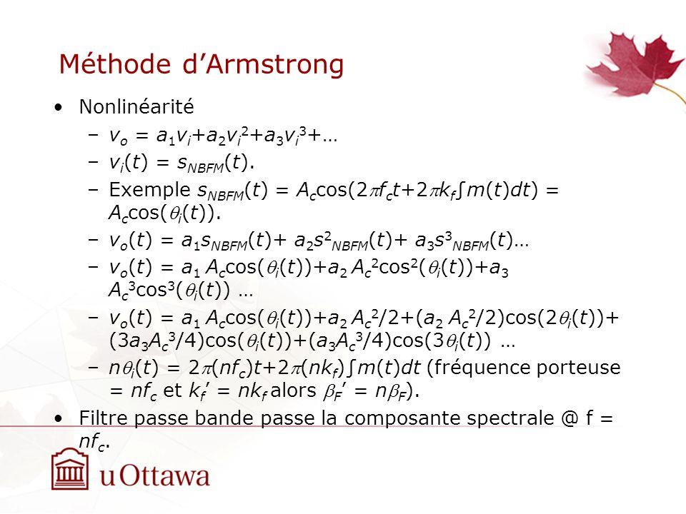 Méthode dArmstrong Nonlinéarité –v o = a 1 v i +a 2 v i 2 +a 3 v i 3 +… –v i (t) = s NBFM (t). –Exemple s NBFM (t) = A c cos(2f c t+2k fm(t)dt) = A c