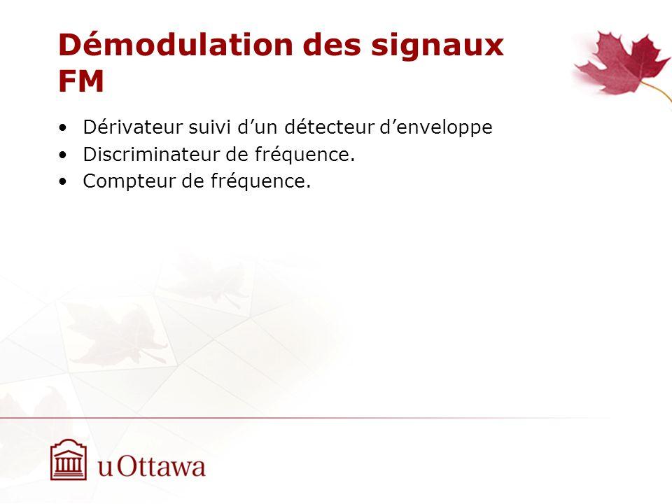 Démodulation des signaux FM Dérivateur suivi dun détecteur denveloppe Discriminateur de fréquence. Compteur de fréquence.