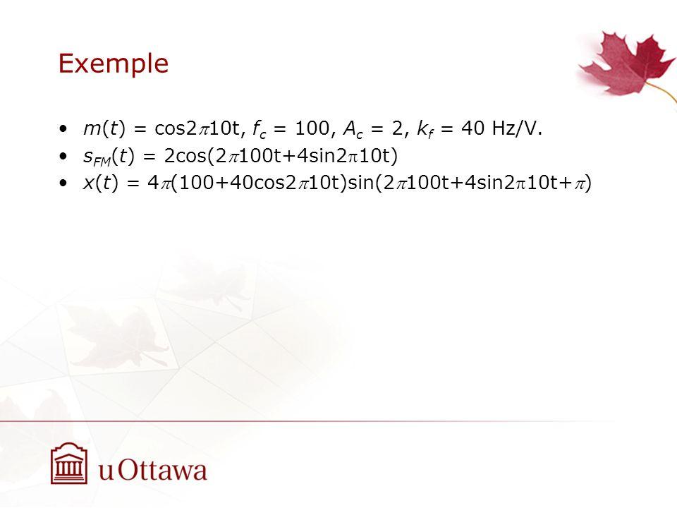 Exemple m(t) = cos210t, f c = 100, A c = 2, k f = 40 Hz/V. s FM (t) = 2cos(2100t+4sin210t) x(t) = 4(100+40cos210t)sin(2100t+4sin210t+)