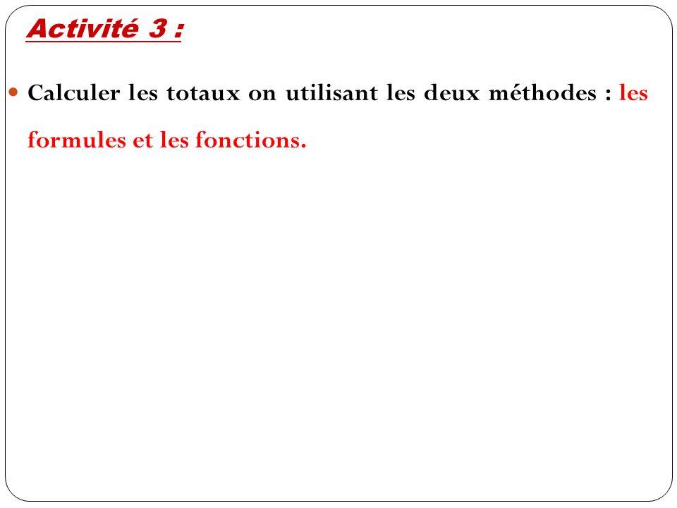 Calculer les totaux on utilisant les deux méthodes : les formules et les fonctions. Activité 3 :