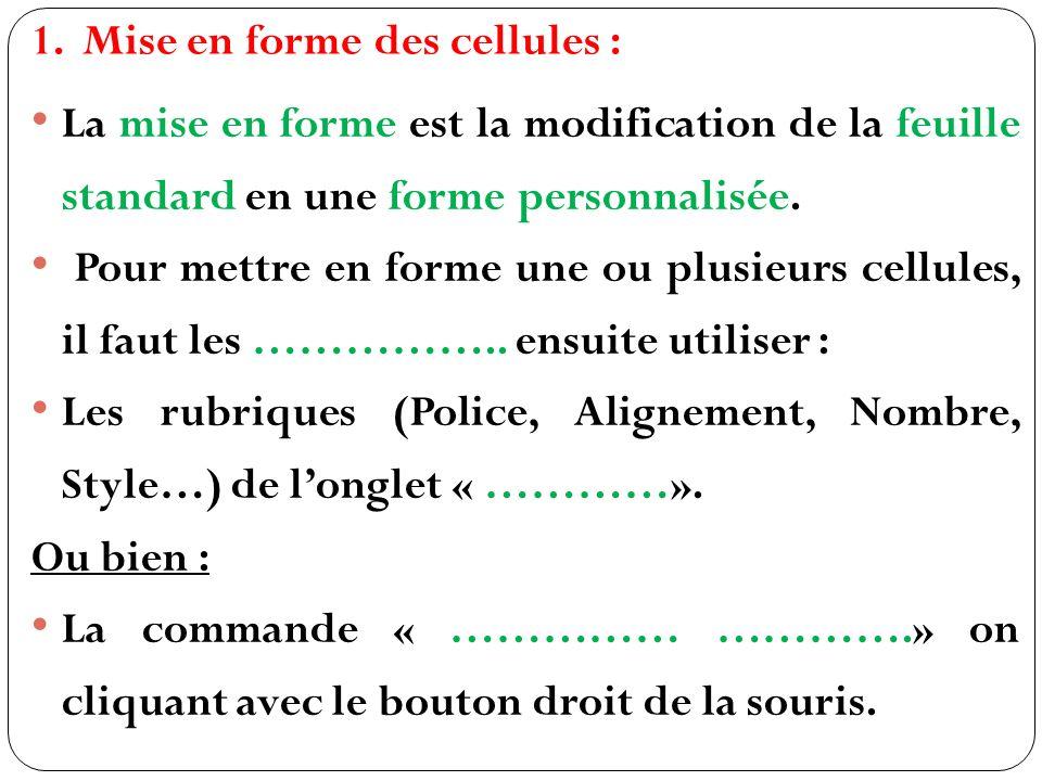 1.Mise en forme des cellules : La mise en forme est la modification de la feuille standard en une forme personnalisée.
