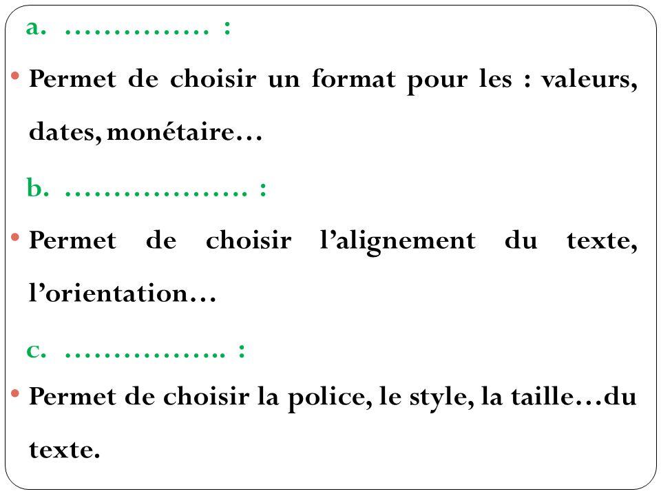 a.…………… : Permet de choisir un format pour les : valeurs, dates, monétaire… b.……………….