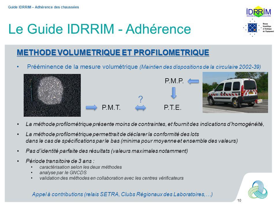 Le Guide IDRRIM - Adhérence 10 METHODE VOLUMETRIQUE ET PROFILOMETRIQUE Prééminence de la mesure volumétrique (Maintien des dispositions de la circulai