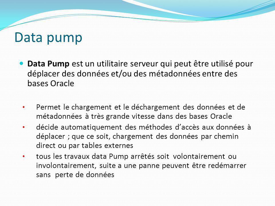 Data pump Data Pump est un utilitaire serveur qui peut être utilisé pour déplacer des données et/ou des métadonnées entre des bases Oracle Permet le c
