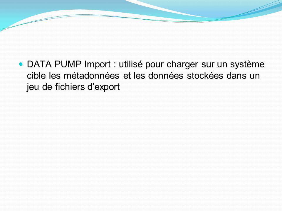 DATA PUMP Import : utilisé pour charger sur un système cible les métadonnées et les données stockées dans un jeu de fichiers dexport