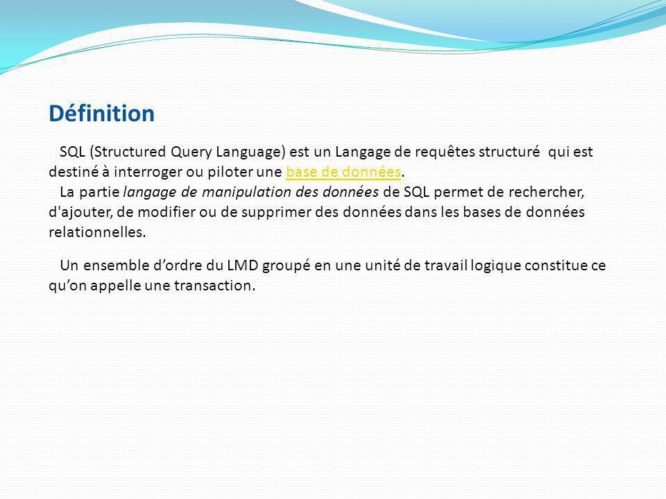 Définition SQL (Structured Query Language) est un Langage de requêtes structuré qui est destiné à interroger ou piloter une base de données.base de do