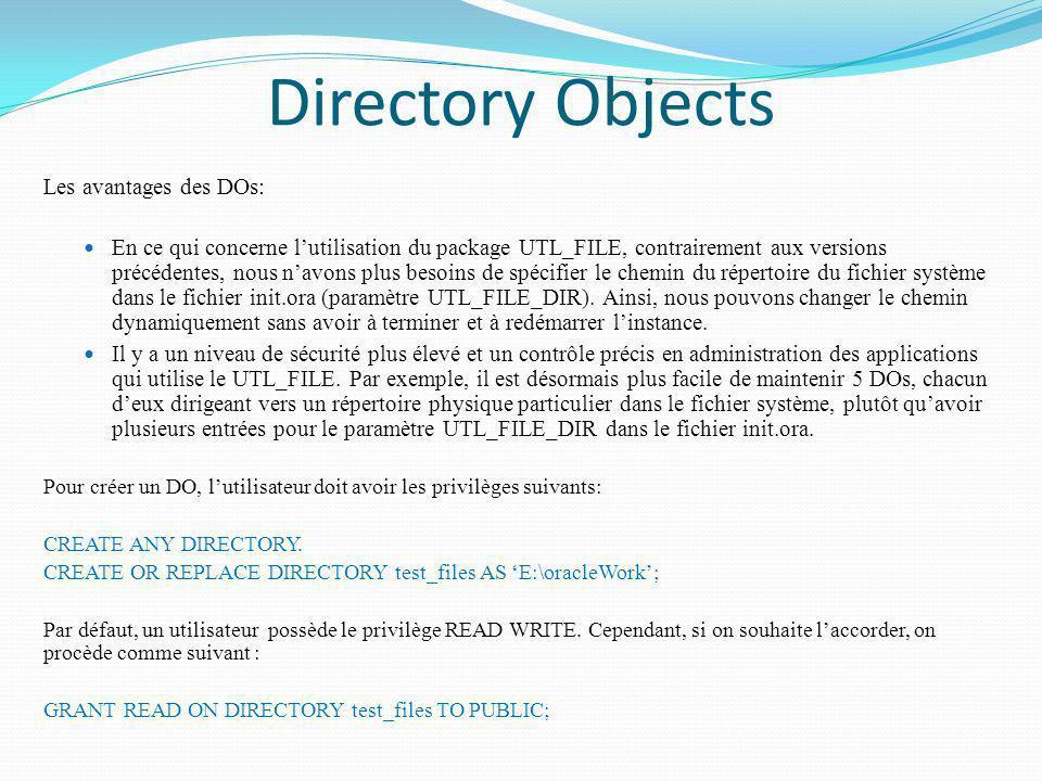 Directory Objects Les avantages des DOs: En ce qui concerne lutilisation du package UTL_FILE, contrairement aux versions précédentes, nous navons plus
