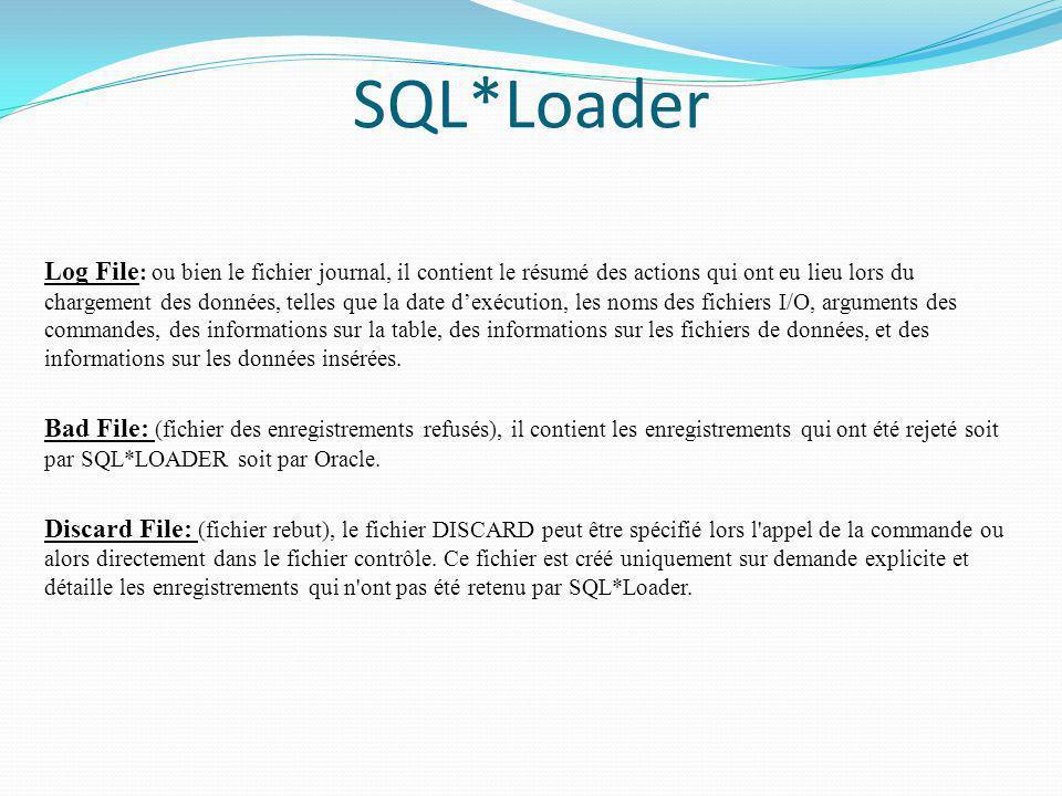 SQL*Loader Log File : ou bien le fichier journal, il contient le résumé des actions qui ont eu lieu lors du chargement des données, telles que la date