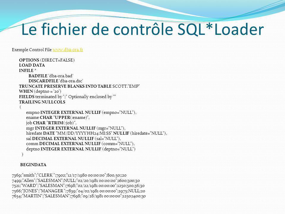 Le fichier de contrôle SQL*Loader Exemple Control File www.dba-ora.frwww.dba-ora.fr OPTIONS (DIRECT=FALSE) LOAD DATA INFILE * BADFILE 'dba-ora.bad' DI