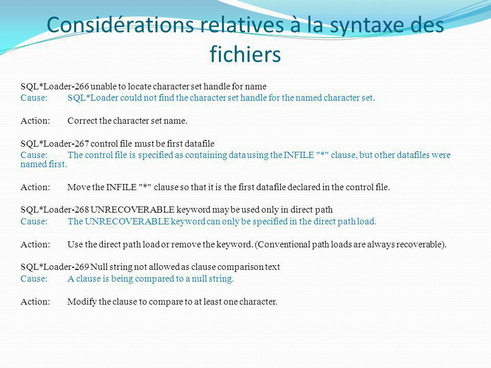 Considérations relatives à la syntaxe des fichiers SQL*Loader-266 unable to locate character set handle for name Cause:SQL*Loader could not find the c