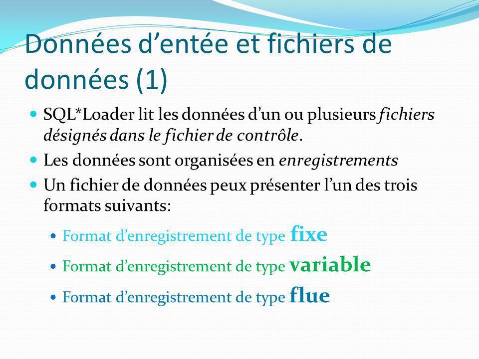 Données dentée et fichiers de données (1) SQL*Loader lit les données dun ou plusieurs fichiers désignés dans le fichier de contrôle. Les données sont