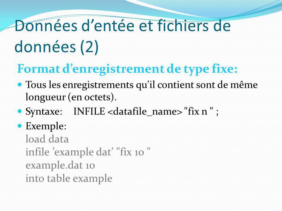 Données dentée et fichiers de données (2) Format denregistrement de type fixe: Tous les enregistrements qu'il contient sont de même longueur (en octet