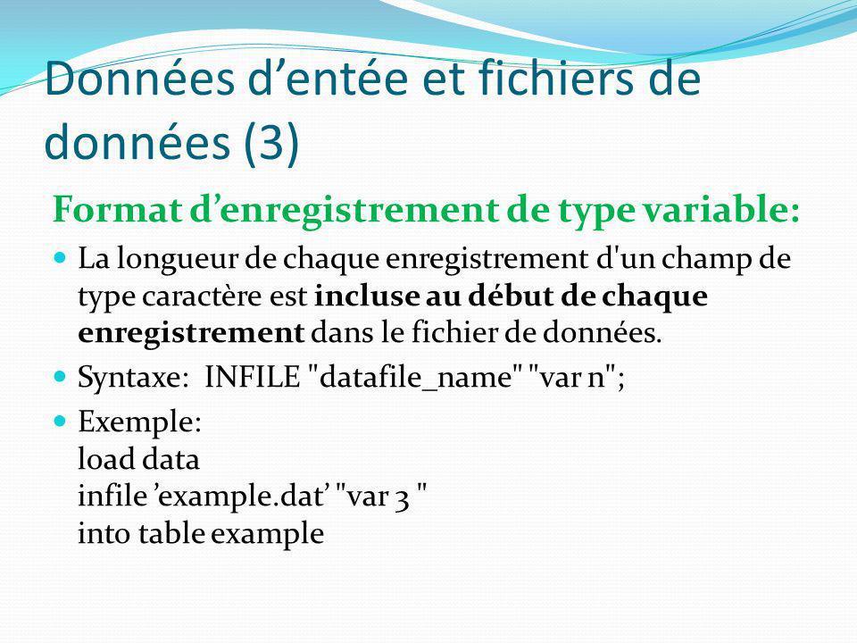 Données dentée et fichiers de données (3) Format denregistrement de type variable: La longueur de chaque enregistrement d'un champ de type caractère e