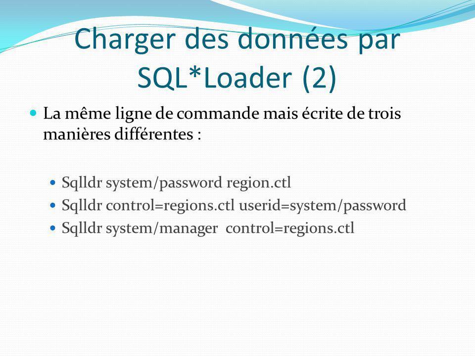 Charger des données par SQL*Loader (2) La même ligne de commande mais écrite de trois manières différentes : Sqlldr system/password region.ctl Sqlldr