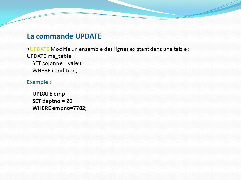 La commande UPDATE UPDATE Modifie un ensemble des lignes existant dans une table :UPDATE UPDATE ma_table SET colonne = valeur WHERE condition; Exemple