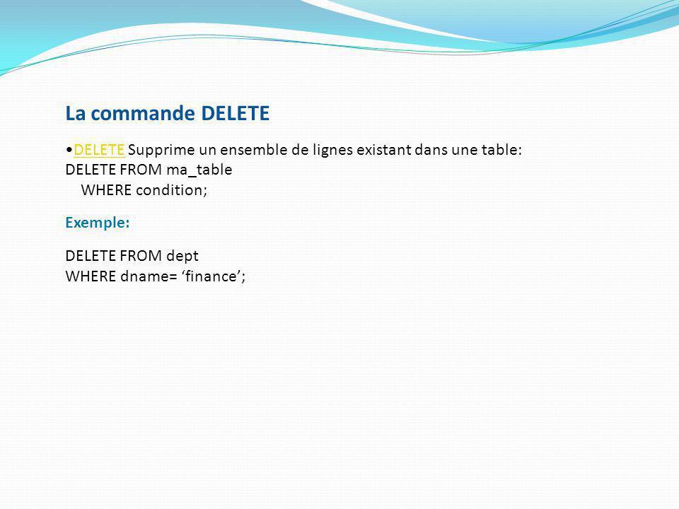 La commande DELETE DELETE Supprime un ensemble de lignes existant dans une table:DELETE DELETE FROM ma_table WHERE condition; Exemple: DELETE FROM dep