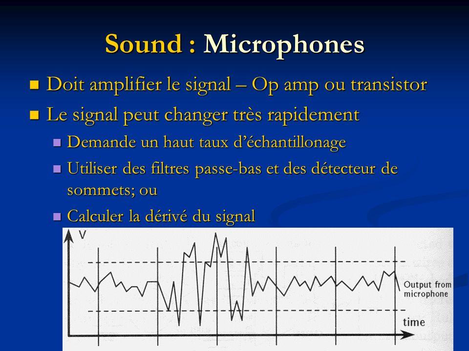 Sound : Microphones Doit amplifier le signal – Op amp ou transistor Doit amplifier le signal – Op amp ou transistor Le signal peut changer très rapidement Le signal peut changer très rapidement Demande un haut taux déchantillonage Demande un haut taux déchantillonage Utiliser des filtres passe-bas et des détecteur de sommets; ou Utiliser des filtres passe-bas et des détecteur de sommets; ou Calculer la dérivé du signal Calculer la dérivé du signal