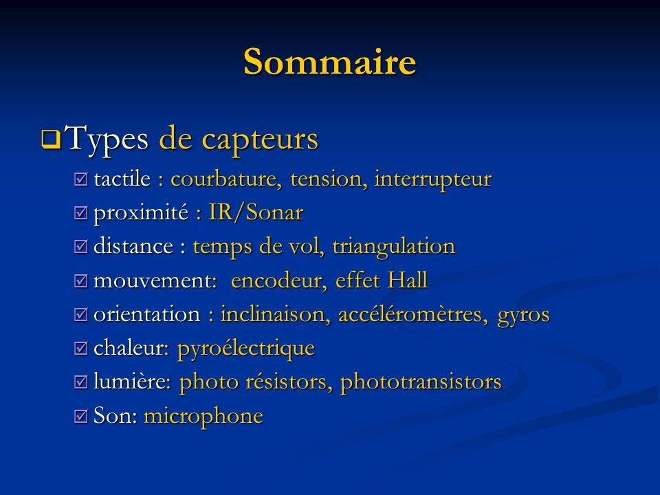 Sommaire Types de capteurs Types de capteurs tactile : courbature, tension, interrupteur tactile : courbature, tension, interrupteur proximité : IR/Sonar proximité : IR/Sonar distance : temps de vol, triangulation distance : temps de vol, triangulation mouvement: encodeur, effet Hall mouvement: encodeur, effet Hall orientation : inclinaison, accéléromètres, gyros orientation : inclinaison, accéléromètres, gyros chaleur: pyroélectrique chaleur: pyroélectrique lumière: photo résistors, phototransistors lumière: photo résistors, phototransistors Son: microphone Son: microphone