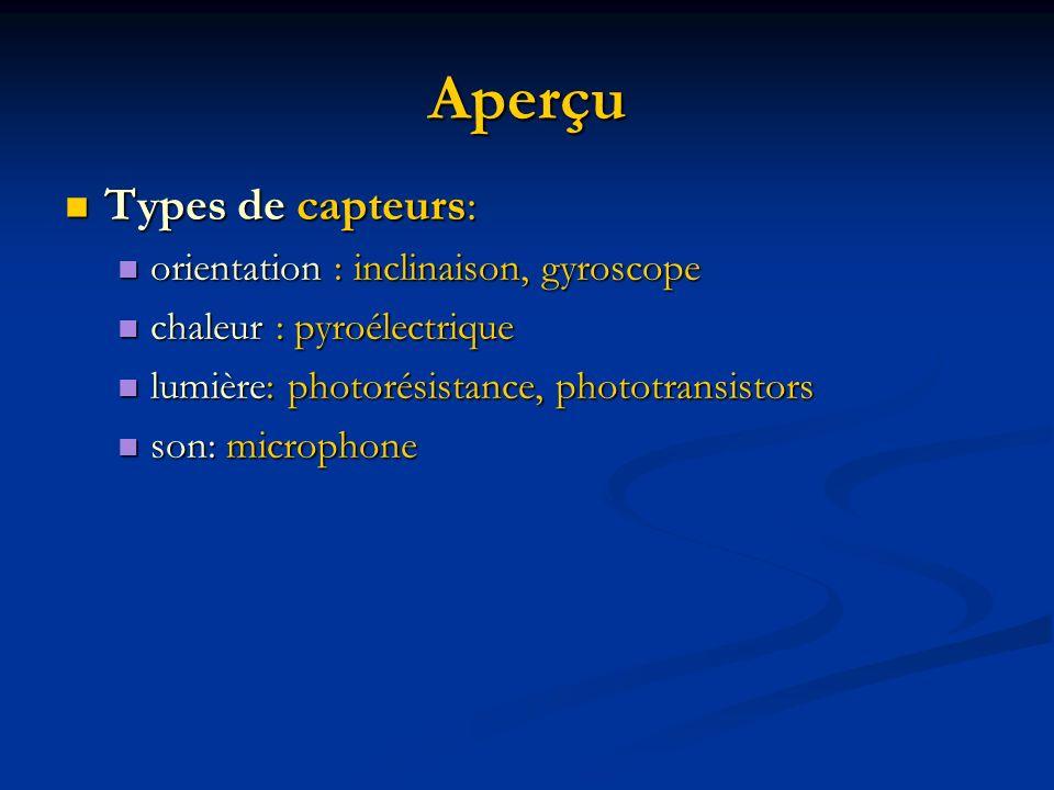 Aperçu Types de capteurs: Types de capteurs: orientation : inclinaison, gyroscope orientation : inclinaison, gyroscope chaleur : pyroélectrique chaleu