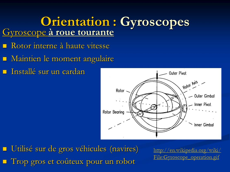 Orientation : Gyroscopes Gyroscope à roue tourante Rotor interne à haute vitesse Rotor interne à haute vitesse Maintien le moment angulaire Maintien l