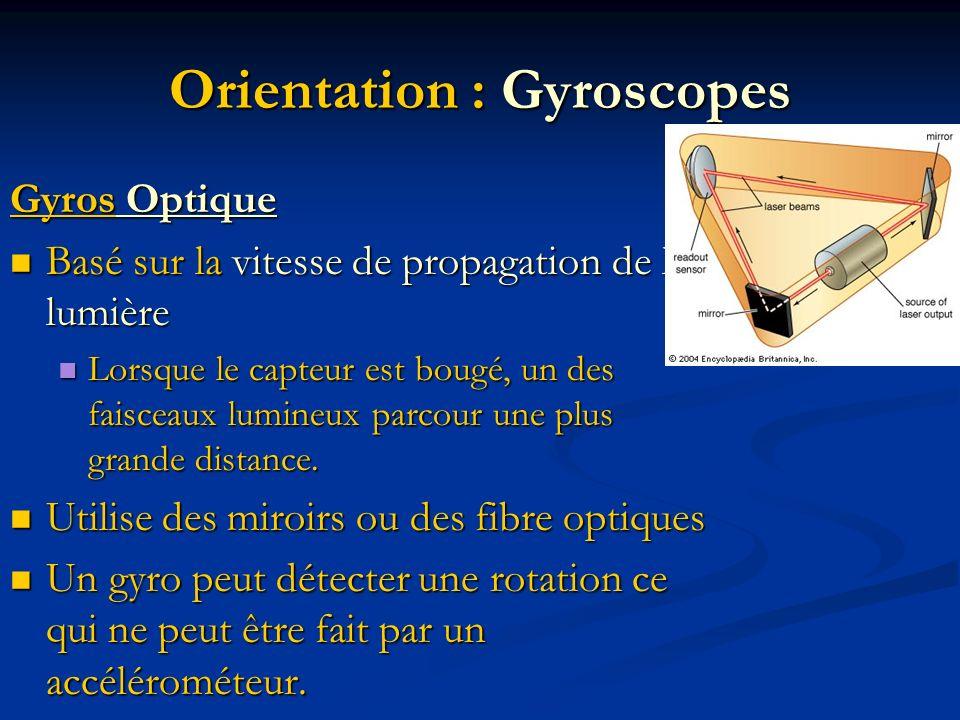 Orientation : Gyroscopes Gyros Optique Basé sur la vitesse de propagation de la lumière Basé sur la vitesse de propagation de la lumière Lorsque le ca
