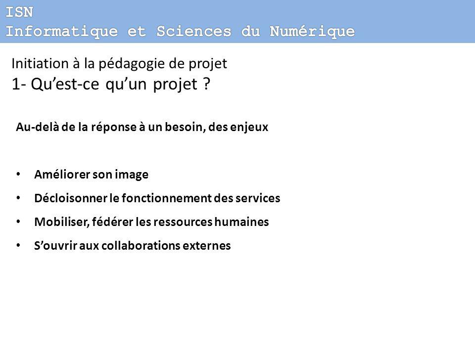 Initiation à la pédagogie de projet 1- Quest-ce quun projet ? Au-delà de la réponse à un besoin, des enjeux Améliorer son image Décloisonner le foncti
