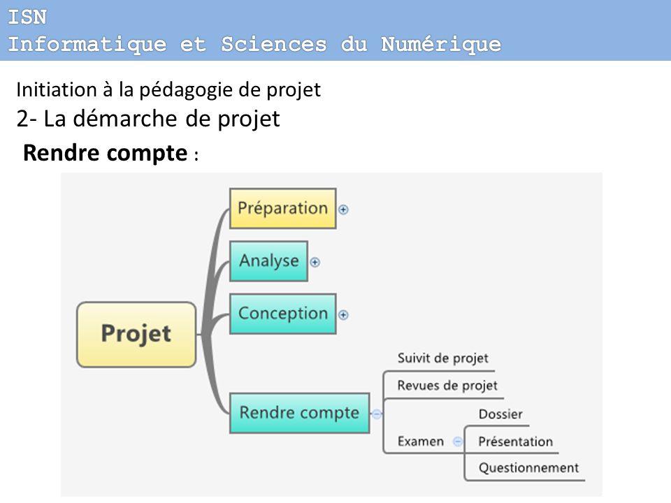 Initiation à la pédagogie de projet 2- La démarche de projet Rendre compte :