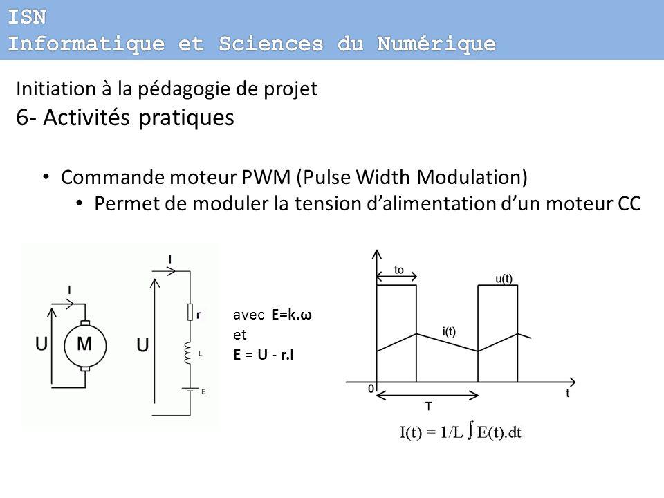 Initiation à la pédagogie de projet 6- Activités pratiques Commande moteur PWM (Pulse Width Modulation) Permet de moduler la tension dalimentation dun
