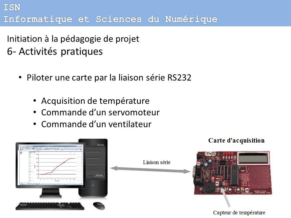 Initiation à la pédagogie de projet 6- Activités pratiques Piloter une carte par la liaison série RS232 Acquisition de température Commande dun servom