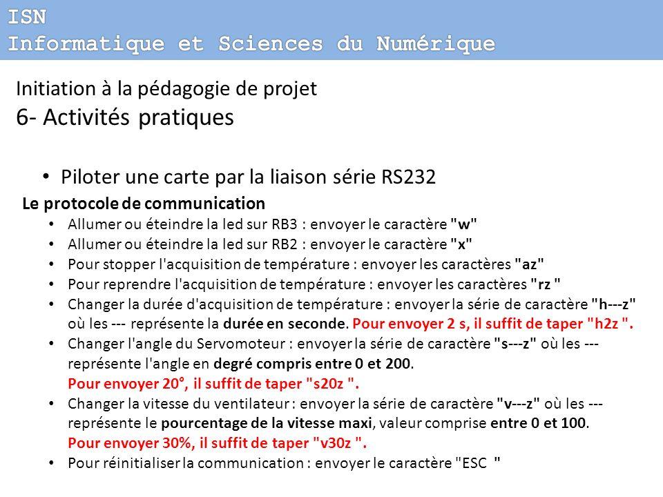 Initiation à la pédagogie de projet 6- Activités pratiques Piloter une carte par la liaison série RS232 Le protocole de communication Allumer ou étein