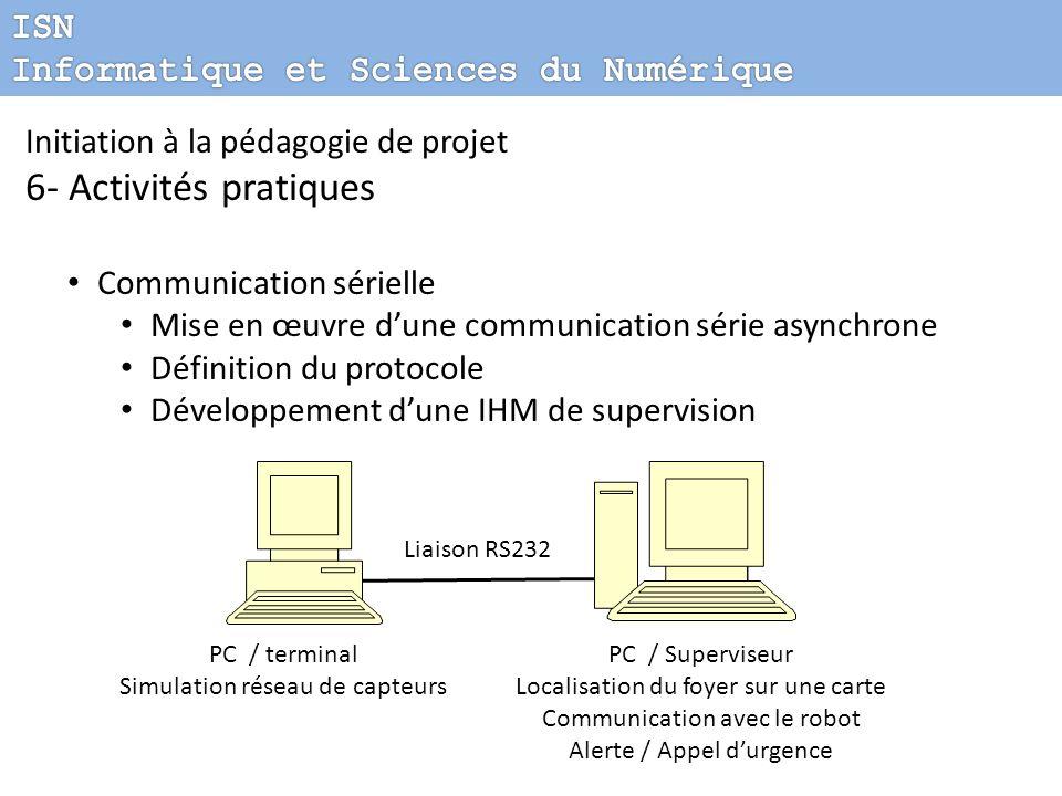 Initiation à la pédagogie de projet 6- Activités pratiques Communication sérielle Mise en œuvre dune communication série asynchrone Définition du prot