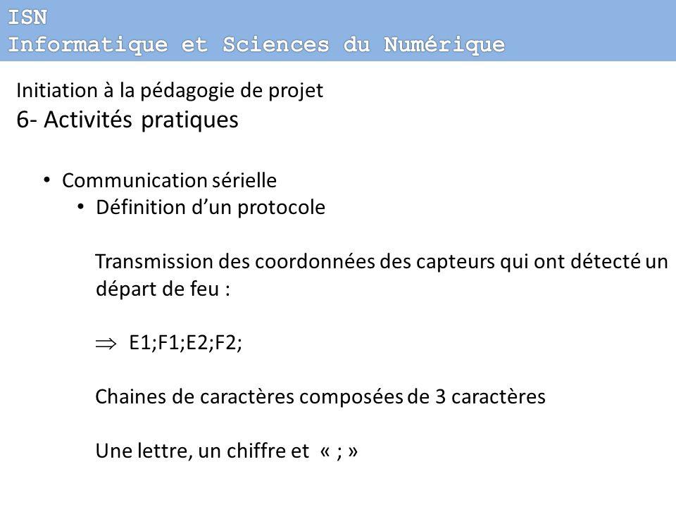 Initiation à la pédagogie de projet 6- Activités pratiques Communication sérielle Définition dun protocole Transmission des coordonnées des capteurs q