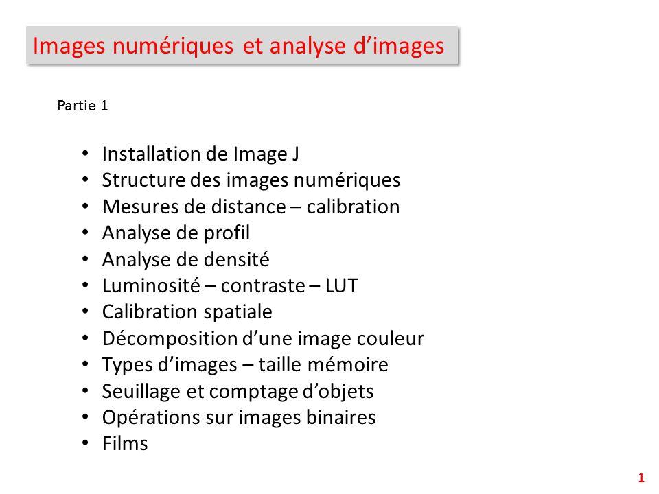 Images numériques et analyse dimages Installation de Image J Structure des images numériques Mesures de distance – calibration Analyse de profil Analy