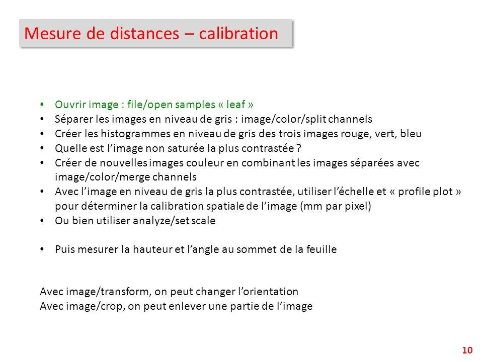 Mesure de distances – calibration 10 Avec image/transform, on peut changer lorientation Avec image/crop, on peut enlever une partie de limage Ouvrir i