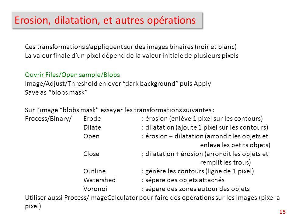 15 Erosion, dilatation, et autres opérations Ces transformations sappliquent sur des images binaires (noir et blanc) La valeur finale dun pixel dépend