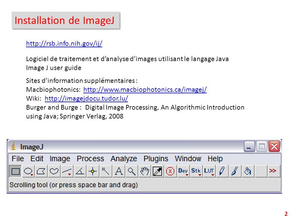 Installation de ImageJ 2 http://rsb.info.nih.gov/ij/ Logiciel de traitement et danalyse dimages utilisant le langage Java Image J user guide Sites din