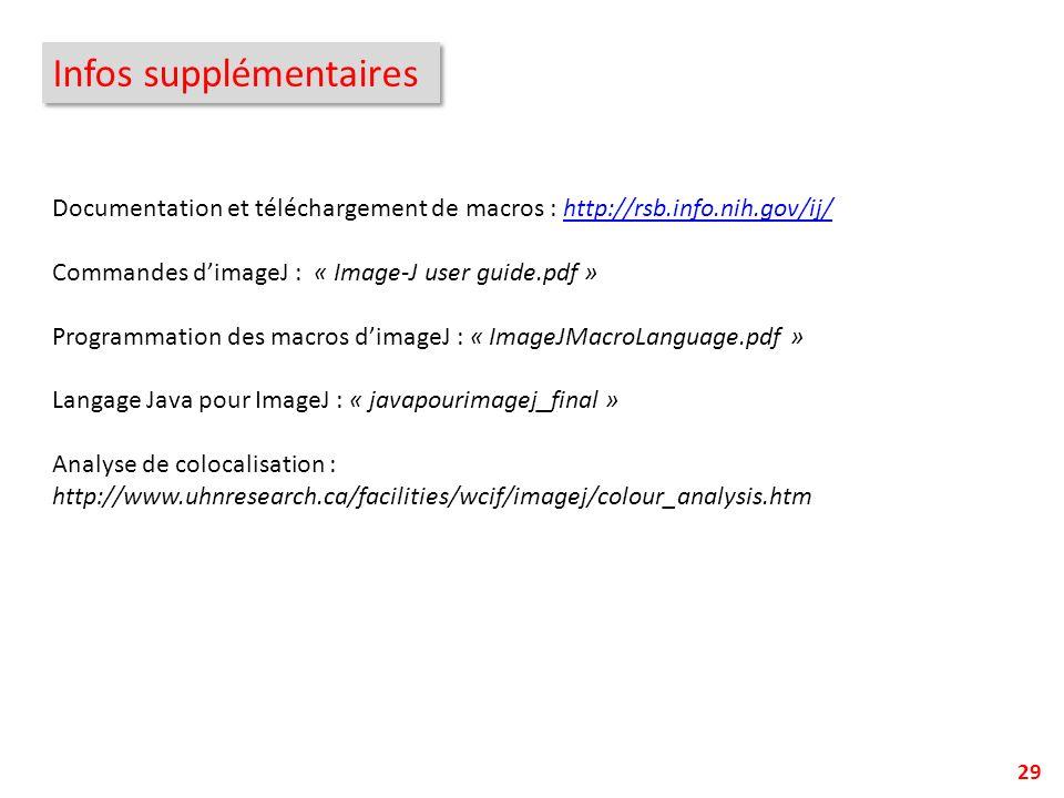 Infos supplémentaires 29 Documentation et téléchargement de macros : http://rsb.info.nih.gov/ij/http://rsb.info.nih.gov/ij/ Commandes dimageJ : « Imag