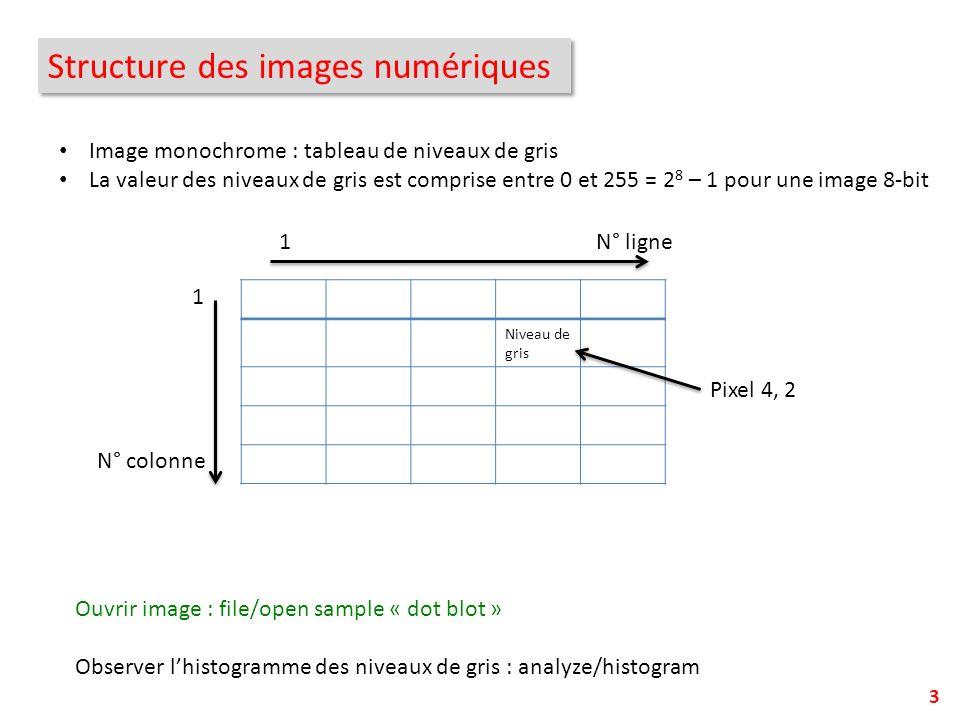 Structure des images numériques 3 Image monochrome : tableau de niveaux de gris La valeur des niveaux de gris est comprise entre 0 et 255 = 2 8 – 1 po
