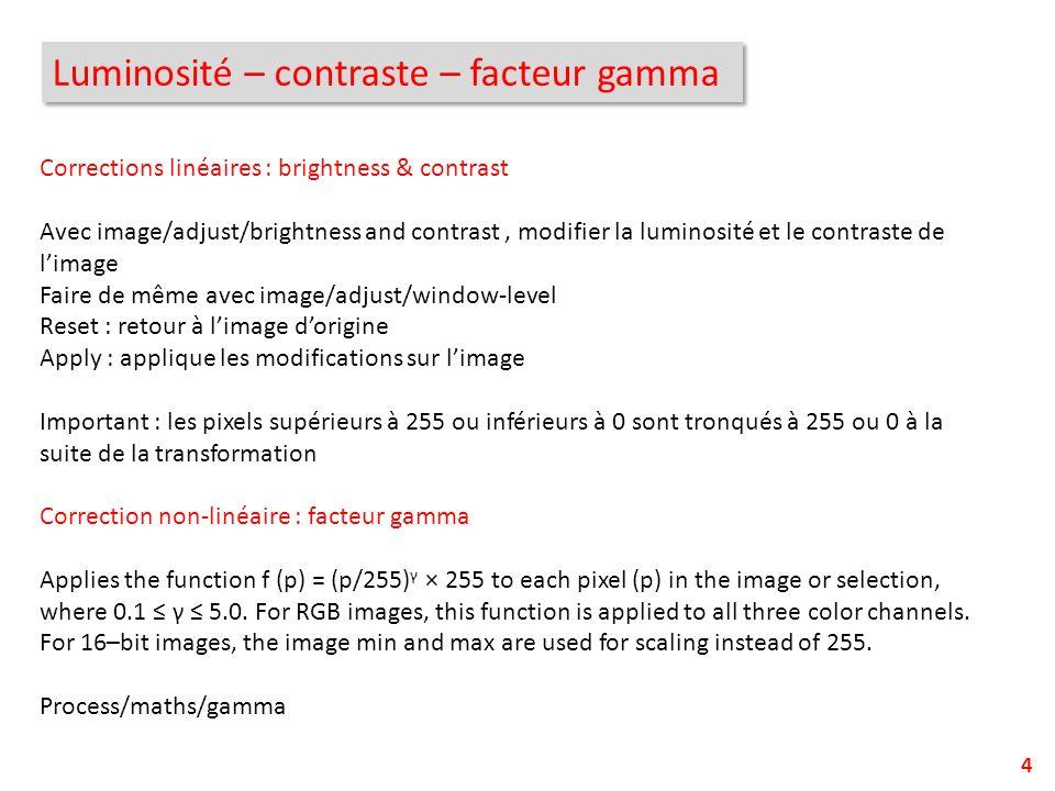 Luminosité – contraste – facteur gamma 4 Corrections linéaires : brightness & contrast Avec image/adjust/brightness and contrast, modifier la luminosi